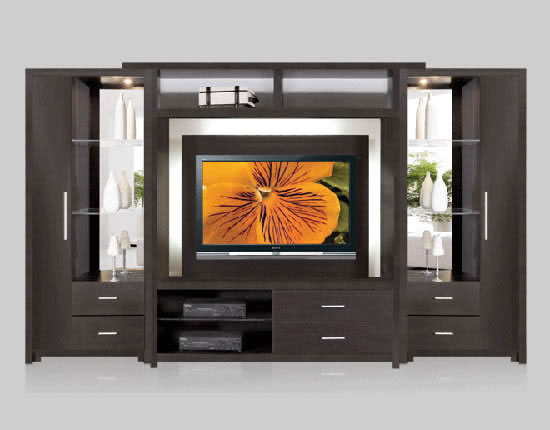 Crystal Wall Unit for Thin Panel Mounted TV